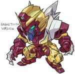 aburaya_tonbi after_war_gundam_x aqua_eyes character_name chibi claw_(weapon) full_body fusion gundam gundam_virsago looking_away marvel mechanization sabertooth_(x-men) simple_background solo standing weapon white_background x-men
