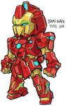 aburaya_tonbi aqua_eyes character_name chibi full_body fusion glowing gundam hyaku_shiki iron_man iron_man_(comics) looking_away marvel mechanization simple_background solo standing white_background zeta_gundam