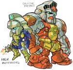 aburaya_tonbi character_name chibi colossus_(x-men) full_body fusion green_eyes gundam gundam_0083 gundam_gp-01_zephyranthes gundam_gp-02_physalis height_difference magik marvel mechanization simple_background standing white_background x-men