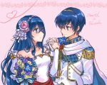 1boy 1girl bare_shoulders blue_eyes blue_hair blush bride couple dress elbow_gloves fire_emblem fire_emblem:_monshou_no_nazo formal gloves hair_ornament hetero husband_and_wife jewelry kumakosion long_hair marth necklace sheeda short_hair simple_background smile strapless suit tiara wedding_dress white_dress white_gloves