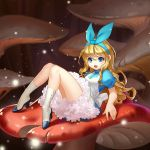 1girl alice_(wonderland) alice_in_wonderland bangs blonde_hair blue_eyes blue_ribbon blue_shirt blurry boots depth_of_field dress fei_shui hair_between_eyes hair_ribbon high_collar high_heel_boots high_heels highres knees_together_feet_apart light_particles long_hair looking_at_viewer lying mushroom on_back open_mouth original petticoat pinafore_dress puffy_short_sleeves puffy_sleeves reclining ribbon shirt short_sleeves solo