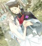 1girl blue_eyes blush breasts brown_hair capelet cleavage commentary_request couple darling_in_the_franxx dress flower grey_hair hair_flower hair_ornament half-closed_eyes hand_holding hat kokoro_(darling_in_the_franxx) long_sleeves looking_at_another married military military_hat military_uniform mitsuru_(darling_in_the_franxx) outdoors petals shiya_(mizushibuki) sleeveless sleeveless_dress smile strapless strapless_dress tied_hair uniform wedding wedding_dress