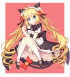 1girl :3 :d animal_ears apron bangs bell black_bow black_dress black_footwear blonde_hair blue_eyes blush bow cat_ears cat_girl cat_tail character_request cup dress eyebrows_visible_through_hair frilled_apron frills hair_between_eyes hair_bow head_tilt holding holding_cup jingle_bell kneehighs long_hair looking_at_viewer maid maid_headdress mary_janes open_mouth puffy_short_sleeves puffy_sleeves red_bow ringlets shoes short_sleeves smile solo steam tail tail_bell tail_bow teacup tengxiang_lingnai twintails very_long_hair waist_apron white_apron white_legwear zhan_jian_shao_nyu