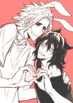 2boys aizawa_shouta animal_ears bags_under_eyes black_sclera blush boku_no_hero_academia cat_ears facial_hair hand_on_another's_shoulder heart heart_hands heart_hands_duo height_difference mescaline monochrome multiple_boys rabbit_ears shirt simple_background smile stubble sunken_cheeks t-shirt yagi_toshinori