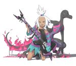 1girl :d bike_shorts black_footwear black_shirt blue_eyes boots electric_guitar fire forehead freckles full_body gen_7_pokemon guitar gym_leader hair_bobbles hair_ornament half_updo highres holding holding_instrument homika_(pokemon) instrument kamemaru kneeling lizard open_mouth oversized_clothes oversized_shirt pokemon pokemon_(creature) pokemon_(game) pokemon_bw2 salazzle shadow shirt short_hair simple_background sleeves_past_wrists smile striped striped_shirt tail tan tank_top tanline teeth tongue torn_clothes torn_shirt v-shaped_eyebrows white_background white_hair