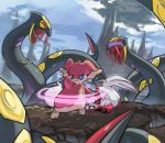 audino background clouds highres injury lying monster on_stomach pinkgermy pokemon pokemon_(creature) rock seviper sky standing zangoose