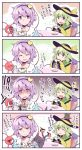 2girls 4koma black_hat blouse blue_blouse broken_cup buttons chair coffee_cup collar collared_shirt comic commentary commentary_request cup disposable_cup frilled_shirt_collar frilled_sleeves frills green_eyes green_hair hair_ornament hat hat_ribbon headband heart heart_hair_ornament highres kaenbyou_rin kaenbyou_rin_(cat) kitsune_maru komeiji_koishi komeiji_satori long_sleeves looking_at_viewer multiple_girls pink_hair pink_skirt ribbon shirt short_hair sitting skirt table third_eye touhou translation_request upper_body wide_sleeves yellow_skirt