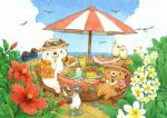 artist_name beach bear bird blush chair colored_pencil_(medium) day eyewear_on_headwear flip-flops food food_request hamburger holding holding_food hot_dog looking_at_viewer original outdoors plate sandals scenery sitting st.kuma sunglasses traditional_media umbrella watercolor_(medium)