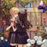 2girls after_kiss asagiri_aya black_legwear black_skirt blonde_hair brown_hair bug butterfly day eye_contact fence flower garden hair_between_eyes hand_holding insect long_hair looking_at_another mahou_shoujo_site monarch_butterfly multiple_girls open_mouth outdoors red_eyes saliva saliva_trail school_uniform serafuku skirt standing thigh-highs white_flower yatsumura_tsuyuno yuri ziiiing