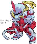 aburaya_tonbi character_name chibi full_body fusion gouf gundam horn looking_at_viewer marvel mechanization mobile_suit_gundam omega_red one-eyed pink_eyes simple_background solo standing tentacle white_background x-men