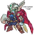 aburaya_tonbi cape character_name chibi fusion green_eyes gundam gundam_wing_endless_waltz hammer looking_away marvel mechanization mjolnir simple_background thor_(marvel) white_background wing_gundam_zero_custom