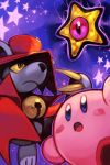 2boys bell blush_stickers cape character_request dorocche hankuri hat kirby kirby_(series) looking_up mouse multiple_boys no_humans open_mouth red_cape red_hat star top_hat