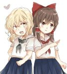 2girls :d alternate_costume blonde_hair blurry blush bow brown_eyes brown_hair depth_of_field fang hair_bow hair_tubes hakurei_reimu heart kirisame_marisa large_bow leaning_on_person medium_hair multiple_girls open_mouth ovo school_uniform serafuku skirt smile touhou wavy_hair yellow_eyes yuri