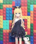 1girl :| abstract_background absurdres against_wall animal_ears arms_behind_back bangs bare_arms bare_legs black_dress blonde_hair blue_eyes breasts bunny_girl child closed_mouth collarbone commentary dress english_commentary expressionless eyebrows_visible_through_hair headband highres holding holding_stuffed_animal lego light_particles long_hair looking_at_viewer multicolored multicolored_background multicolored_clothes multicolored_dress original patterned patterned_clothing rabbit_ears shiny shiny_hair sidelocks sleeveless sleeveless_dress small_breasts solo standing stuffed_animal stuffed_bunny stuffed_toy tr_(hareru) wavy_hair
