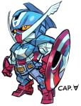 aburaya_tonbi captain_america character_name chibi full_body fusion gundam looking_away marvel mechanization shield simple_background solo standing turn_a_gundam turn_a_gundam_(mobile_suit) white_background