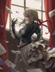 1girl blonde_hair blue_jacket braid brooch brown_gloves curtains envelope from_behind gloves goldcan hair_between_eyes hair_intakes hair_ribbon hand_on_hip hand_up highres indoors jacket jewelry letter looking_to_the_side necklace petals pink_lips red_ribbon ribbon skirt violet_(flower) violet_evergarden violet_evergarden_(character) white_neckwear white_skirt window