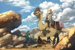 1girl alternate_costume anachronism anime_coloring beak blonde_hair blue_sky blush cactus cape capri_pants claws clouds cloudy_sky commentary_request day desert dinosaur dinosaur_riding fantasy futaba_anzu hand_up highres idolmaster idolmaster_cinderella_girls kamemaru long_hair namesake outdoors pants reins riding rock saddle sandals scenery serious sky stuffed_animal stuffed_bunny stuffed_toy twintails