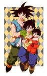 1girl 2boys :d annoyed belt black_eyes black_hair boots cellphone dougi dragon_ball dragonball_z father_and_son floating frown full_body green_shirt happy looking_at_another multicolored multicolored_background multiple_boys open_mouth pan_(dragon_ball) phone shirt short_hair sleeveless smile son_gokuu son_goten spiky_hair sweatdrop uncle_and_niece white_background wristband