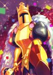 1boy armor artist_name black_legwear cape confetti facing_viewer fur_trim gauntlets glint king_knight nkatazmukai puffy_sleeves scepter shovel_knight solo standing yellow_legwear