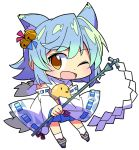 1girl :d ahoge animal_ears azur_lane bell bird blue_hair brown_eyes chibi chick commentary_request fox_ears fubuki_(azur_lane) full_body gohei hair_bell hair_ornament highres japanese_clothes jingle_bell looking_at_viewer one_eye_closed open_mouth ribbon-trimmed_sleeves ribbon_trim roku_no_hito simple_background smile standing white_background wide_sleeves