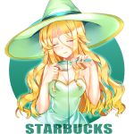 1girl absurdres bare_shoulders blonde_hair blush breasts cleavage closed_eyes closed_mouth coffee coffee_cup collarbone cup disposable_cup eyebrows_visible_through_hair facing_viewer green_hat green_ribbon hat hat_ribbon highres holding holding_cup long_hair medium_breasts ribbon smile solo sorceress starbucks tei_(52137) test_tube upper_body