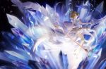 1girl antenna_hair brown_hair card_captor_sakura cat_princess choker crown feathered_wings floating_hair full_body gloves green_eyes holding holding_staff kinomoto_sakura looking_up magical_girl miniskirt open_mouth short_hair skirt sleeveless solo staff strapless white_gloves white_skirt white_wings wings