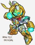 aburaya_tonbi g_gundam glowing_fist gundam iron_fist_(marvel) marvel mecha shining_gundam