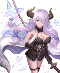 1girl absurdres asymmetrical_gloves belt black_gloves black_legwear blue_eyes braid breasts bug butterfly butterfly_hair_ornament cleavage draph elbow_gloves fingerless_gloves gloves granblue_fantasy hair_ornament hair_over_one_eye highres holding holding_weapon horns insect katana large_breasts lavender_hair long_hair looking_at_viewer low_tied_hair narmaya_(granblue_fantasy) pointy_ears sheath sheathed simple_background single_braid single_elbow_glove single_fingerless_glove single_thighhigh sleeveless smile solo sword thigh-highs thigh_strap weapon white_background yuki7128