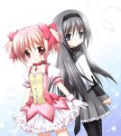 2girls akemi_homura back-to-back black_bow black_legwear blue_background blush bow choker dress gloves gradient gradient_background hair_bow kaname_madoka long_hair long_sleeves magical_girl mahou_shoujo_madoka_magica multiple_girls nanase_miori pantyhose pink_bow pink_choker pink_dress pink_eyes pink_hair pink_ribbon puffy_short_sleeves puffy_sleeves ribbon sailor_collar short_hair short_sleeves smile twintails white_background white_gloves