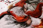 1girl akali alternate_costume antlers blood_moon_akali chinese_clothes commentary dual_wielding eyeliner flat_chest hair_ribbon high_ponytail kama_(weapon) league_of_legends lips long_hair looking_at_viewer makeup mask mask_on_head messy_hair muju nose realistic ribbon sickle solo very_long_hair weapon wide_sleeves yellow_eyes