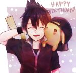 1boy birthday black_hair black_shirt black_wristband hat jacket melontic2 pokemon red_(pokemon) red_jacket shirt simple_background wristband