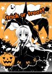 1girl :p amae_koromo black_background bow candy chocolate_bar english food ghost hair_bow halloween halloween_costume hat holding holding_hat nanase_miori orange_background pumpkin saki smile solo star tongue tongue_out trick_or_treat witch witch_hat