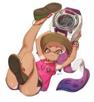 1girl :3 arms_up bare_legs blush breasts dark_skin domino_mask full_body grey_eyes hat highres inkling leg_up legs looking_at_viewer mask purple_hair shirt shoes short_shorts shorts simple_background sleeveless sleeveless_shirt smile splatoon tan tanline tentacle_hair wavy_mouth white_background yu-ri