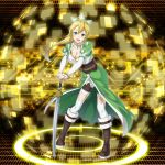 1girl :d absurdres blonde_hair boots bracelet breasts brown_footwear cape choker cleavage collarbone detached_sleeves floating_hair forest full_body green_cape green_eyes hands_on_hilt high_ponytail highres jewelry knee_boots large_breasts leafa leaning_forward long_hair nature open_mouth saber_(weapon) shorts smile solo standing sword sword_art_online thigh-highs waist_cape weapon white_legwear white_shorts
