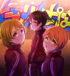 3girls beniko08 black_hair brown_hair commentary_request from_behind graffiti green_eyes highres hoshizora_rin jacket koizumi_hanayo long_sleeves looking_at_viewer looking_back love_live! love_live!_school_idol_project mouth_hold multiple_girls open_mouth orange_hair pants red_jacket short_hair track_jacket track_pants track_suit twintails v-shaped_eyebrows violet_eyes wavy_mouth yazawa_nico