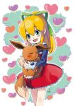 1girl animal blonde_hair blush capcom child closed_eyes crossover dress eevee eyebrows_visible_through_hair gen_1_pokemon green_eyes green_ribbon hair_between_eyes hair_ornament hair_ribbon heart heart_background high_ponytail highres holding holding_animal holding_pokemon hug long_hair nintendo open_mouth pokemon pokemon_(creature) ponytail red_dress ribbon rockman rockman_(classic) rockman_8 roll sidelocks signature smile solo sumomo teeth