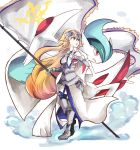 1girl :o armor armored_corset armored_dress banner bare_shoulders blonde_hair blue_eyes breasts crossover dress fate/grand_order fate_(series) faulds flag full_body gallade gauntlets gen_4_pokemon greaves headpiece holding holding_poke_ball jeanne_d'arc_(fate) jeanne_d'arc_(fate)_(all) long_hair medium_breasts mega_gallade mega_pokemon mirui open_mouth poke_ball poke_ball_(generic) pokemon pokemon_(creature) very_long_hair white_background white_dress