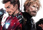 2boys absurdres armor avengers:_infinity_war beard blonde_hair blue_eyes brown_eyes brown_hair captain_america eyewear_removed facial_hair fingerless_gloves glasses gloves glowing_armor goatee highres iku_(ikuchan_kaoru) iron_man marvel multiple_boys open_mouth power_armor shield simple_background sketch smile steve_rogers strap tony_stark transformation upper_body