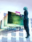 1boy absurdres blue_hair blurry blurry_background english fisheye_placebo gloves glowing glowing_eyes hand_in_pocket highres hood hood_up hoodie mask short_hair standing suit_jacket virtual_reality wenqing_yan white_gloves