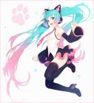 1girl :d bangs bare_shoulders black_footwear black_legwear black_skirt blue_eyes blush boots breasts cat_ear_headphones commentary detached_sleeves eyebrows_visible_through_hair gradient_hair green_hair hakusai_(tiahszld) hatsune_miku headphones high_heel_boots high_heels long_hair long_sleeves looking_at_viewer multicolored_hair open_mouth pink_hair pleated_skirt shirt skirt sleeveless sleeveless_shirt small_breasts smile solo thigh-highs thigh_boots twintails upper_teeth very_long_hair vocaloid white_shirt wide_sleeves
