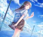 1girl bag bangs black_skirt blue blue_background blue_sky braid brown_eyes cellphone crown_braid day dutch_angle earphones earphones ground_vehicle hair_ribbon looking_back original phone pleated_skirt power_lines reflection ribbon sanka_tan school_bag school_uniform serafuku short_sleeves skirt sky smartphone standing train water