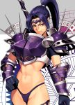 1girl abs armor bikini_armor bikini_bottom black_gloves blue_hair boobplate closed_mouth forehead_protector gloves grey_background groin hexagram high_ponytail highres holding holding_weapon long_hair looking_at_viewer mole mole_under_mouth ogami original pauldrons pointy_ears ponytail purple_armor purple_bikini_bottom short_sleeves sidelocks smile solo spikes standing star_of_david tsurime v-shaped_eyes vambraces violet_eyes weapon white_background