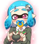 1girl bangs blue_hair blunt_bangs blush bow cardigan collared_shirt domino_mask eromame eyebrows green_bow hair_ornament hairclip heart heart-shaped_pupils heart_hands inkling long_sleeves looking_at_viewer mask pacifier pink_eyes pointy_ears shirt short_hair solo splatoon splatoon_2 striped striped_bow striped_neckwear symbol-shaped_pupils tentacle_hair upper_body white_shirt