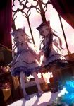 2girls 54hao :d animal_ears bangs black_footwear black_legwear black_shirt blue_flower blue_footwear blue_rose blurry blurry_foreground closed_mouth commentary curtains day depth_of_field dress dutch_angle eyebrows_visible_through_hair flower forehead hand_holding highres indoors kemonomimi_mode loafers long_hair long_sleeves looking_at_viewer multiple_girls open_mouth original pantyhose parted_bangs pink_flower pink_rose purple_hair rose shadow shirt shoes siblings sisters sleeveless sleeveless_dress smile stained_glass standing stuffed_animal stuffed_toy sunlight teddy_bear twins very_long_hair violet_eyes white_dress white_flower white_hair white_legwear white_rose wide_sleeves window