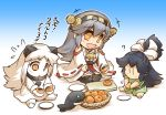 3girls barefoot black_hair bowl chibi collar comic commentary_request cutting_board detached_sleeves dress flying_sweatdrops food fruit gradient gradient_background green_eyes grey_hair hair_ribbon haruna_(kantai_collection) headgear hisahiko holding holding_knife horns i-class_destroyer japanese_clothes kantai_collection katsuragi_(kantai_collection) knife kuchiku_i-kyuu long_hair loquat mittens multiple_girls nontraditional_miko northern_ocean_hime open_mouth orange_eyes plate ponytail ribbon seiza shinkaisei-kan siting sitting skirt sleeveless sleeveless_dress smile star star-shaped_pupils symbol-shaped_pupils thigh-highs translation_request white_hair wide_sleeves