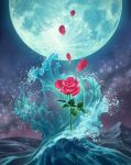 clouds cloudy_sky commentary_request flower full_moon highres leaf moon nature nezuminezumi no_humans ocean original outdoors petals rose rose_petals scenery sky star_(sky) starry_sky thorns waving