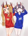 2girls absurdres arms_up bangs blonde_hair blue_hoodie blush brown_background brown_eyes bunching_hair clothes_writing collarbone commentary_request drawstring english facial_mark fangs fate/grand_order fate_(series) forehead_mark gradient gradient_background highres hood hood_down hoodie horns ibaraki_douji_(fate/grand_order) locked_arms long_hair long_sleeves makano_mucchi multiple_girls oni oni_horns open_mouth pale_skin purple_hair red_hoodie shiny shiny_skin short_hair shuten_douji_(fate/grand_order) thick_eyebrows tongue tongue_out twintails very_long_hair violet_eyes white_background