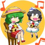 2girls chair gomi_ichigo green_hair guitar holding holding_instrument instrument kazami_yuuka looking_at_viewer multiple_girls murasa_minamitsu music musical_note open_mouth playing_instrument singing sitting smile touhou ukulele