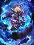 1girl alternate_costume armor black_gloves blonde_hair blue_eyes blue_fire championship_riven clenched_hand commentary fire full_armor gauntlets gloves hair_over_one_eye highres league_of_legends lips muju nose over_shoulder riven_(league_of_legends) short_hair solo sword sword_over_shoulder weapon weapon_over_shoulder