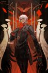 1boy antonio_salieri_(fate/grand_order) ascot black_gloves black_suit breast_pocket cloak commentary_request fate/grand_order fate_(series) formal gloves highres lack long_sleeves looking_at_viewer pocket pocket_square red_eyes striped_suit suit sword weapon white_hair
